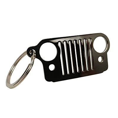 Probrother Jeep Grill Key Chain Laser-Cut 304 Stainless Steel, Will Never Rust, Bend or Brake,Keychain, Keyring (Tarnish): Automotive [5Bkhe1507714]