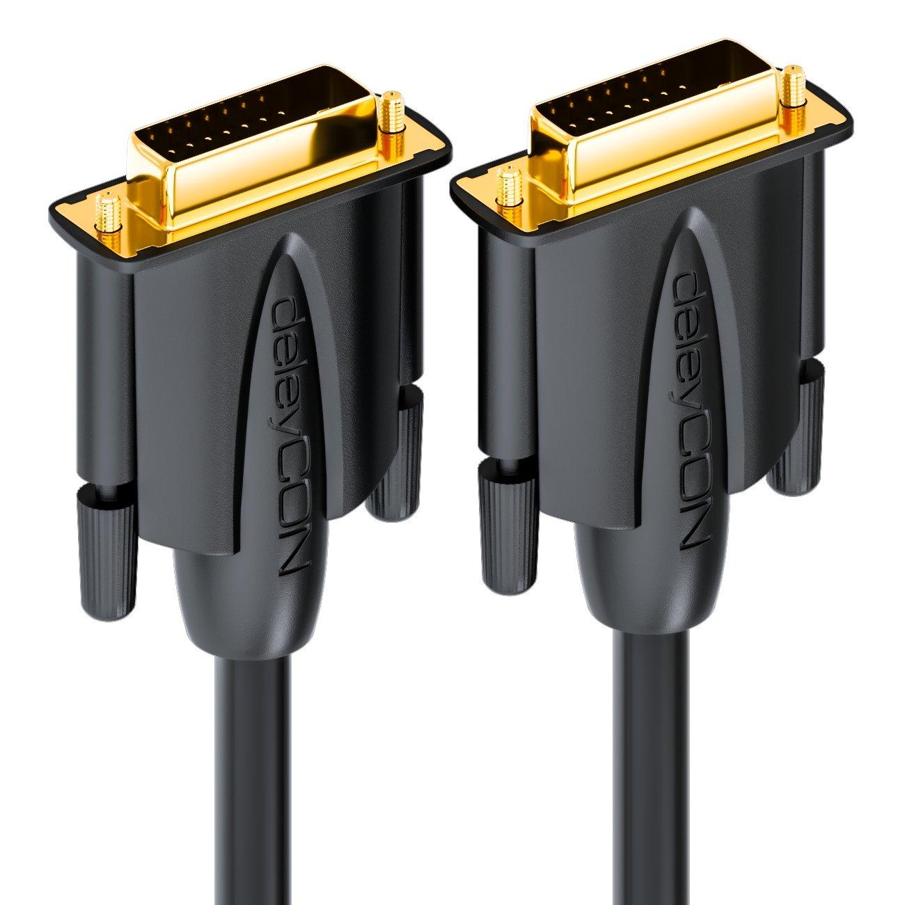 Negro deleyCON 3m Cable DVI de Doble Enlace 24+1 HDTV Resoluciones de hasta 2560x1080 Full HD 1080p Compatible con 3D DVI-D Contactos Dorados