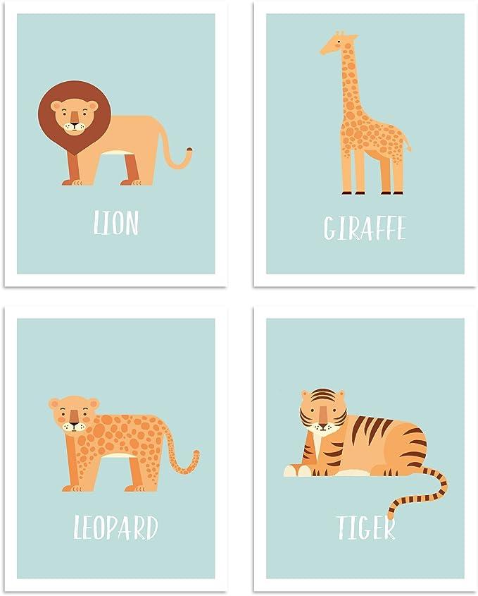 Announcement Poster Nursery Decor Elephant giraffe lion zebra monkey rhino Boy Custom Wall Decoration SAFARI ANIMALS Birth Stats Wall Art