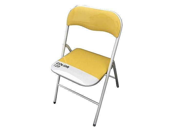 Sedie Pieghevoli Gialle : Set di sedie pieghevole slim gialla in metallo per ufficio casa