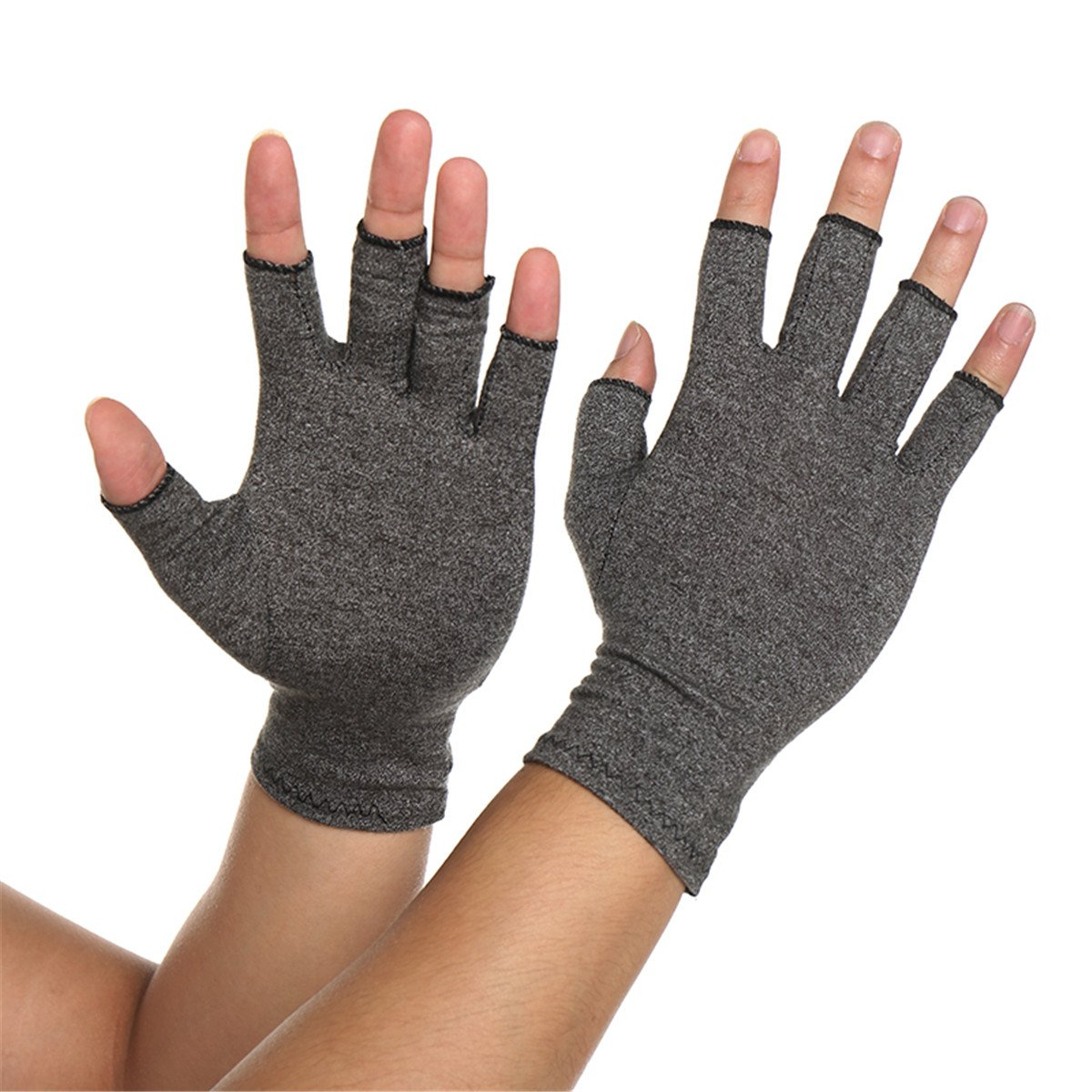 ARHSSSZY 1 Pair Arthritis Compression Fingerless Gloves for Womens Mens, Joint Pain,Cold Swollen Hand Stiffness and Neuropathy Pain Relief,Improves Blood Circulation (Light Grey,Large)