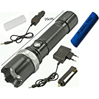 Alexvyan 800M Zoom Torch Tactical Led Rechargeable With 18650 Battery Flashlight Tourch Zoom 3 Mode Focus Car/Wall Charger Included With Plastic Box
