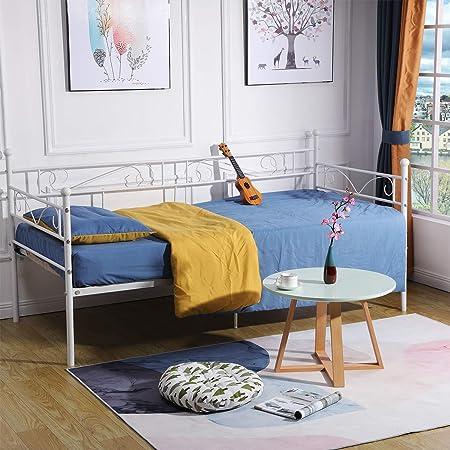 DORAFAIR Cama Metálica diván Cama Individual Marco de Cama para Niños Habitación Habitación Dormitorio Balcón Jardín Cama 95 x 195,Blanco: Amazon.es: Hogar