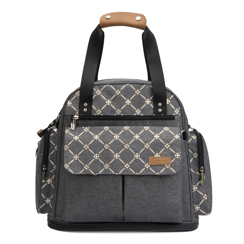 Baby Wickelrucksack Wickeltasche mit Wickelunterlage Multifunktional Große Kapazität Babytasche Reiserucksack für Unterwegs (Grau) Leke Unternehmen