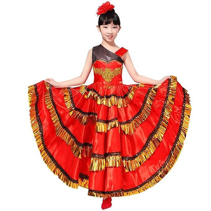 88b97e436 Amazon.com  Girls Red Spanish Belly Dance Dress Kids Flamenco Dance ...