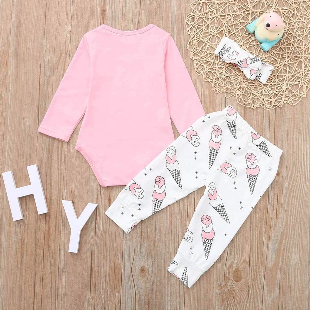 3PCS Waymine Infant Girls Letter Mini Boss Romper+Ice Cream Print Pants+Headband Set