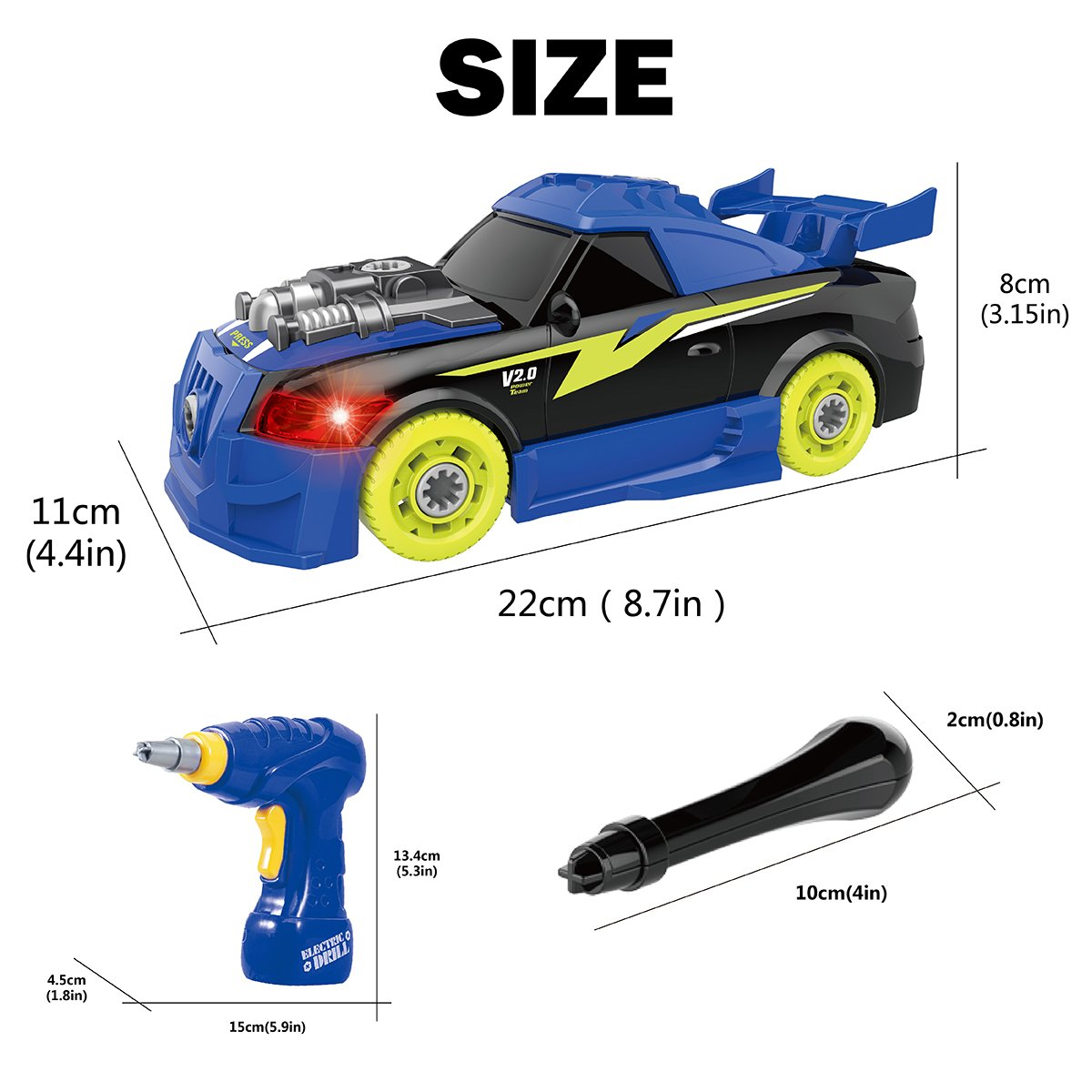 Maxxrace Take Apart Racing Car, STEM Toys 26 Pieces Assembly Car Toys with Drill Tool, Lights and Sounds, Gifts for Kids Aged 3+ by Maxxrace (Image #5)