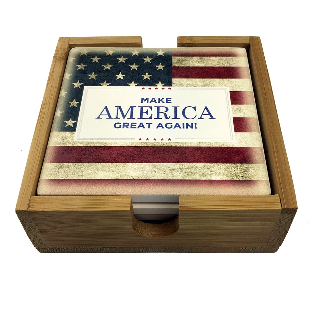 Make America Great Again Deluxe Four Coaster Set Sandstone and Bamboo Holder