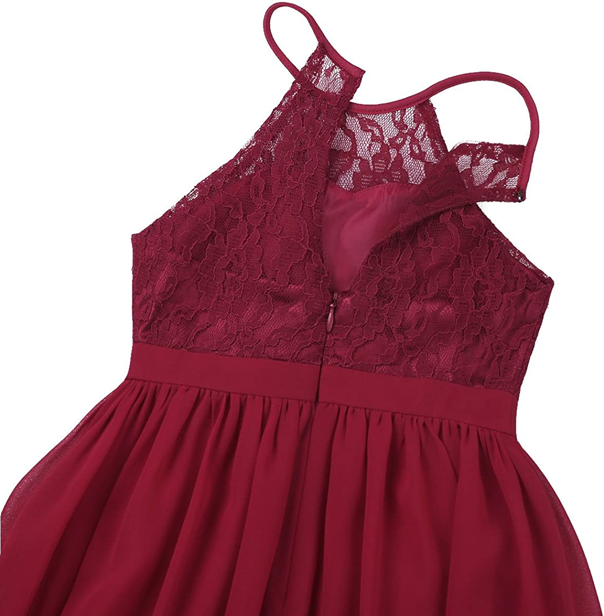 Girls Halter-Neck Floral Lace Junior Bridesmaid Dress Party Wedding Pageant Gown