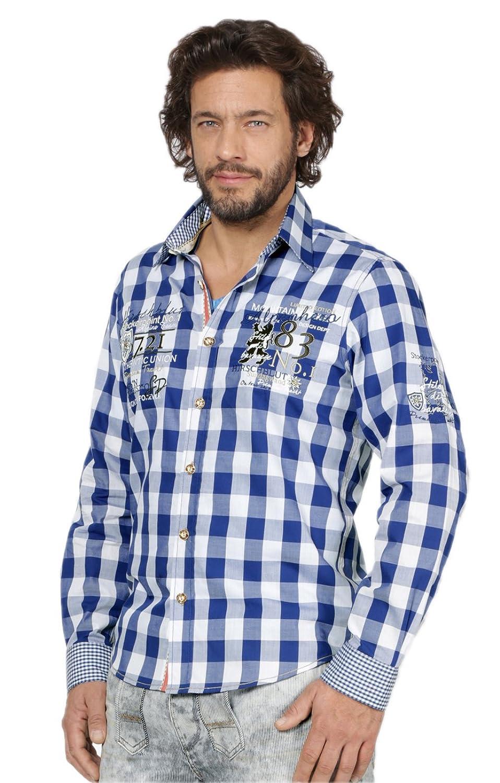 Trachtenhemd Dan - exklusive Trachtenmode für den Mann, kariertes Hemd in schmaler Form im Landhausstil mit feinen Stickereien, aus angenehmen Materialien in Blau