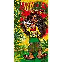 DRAP DE PLAGE JAMAICA CULTURE SERVIETTE EPONGE VELOURS IMPRIMEE 95x175cm