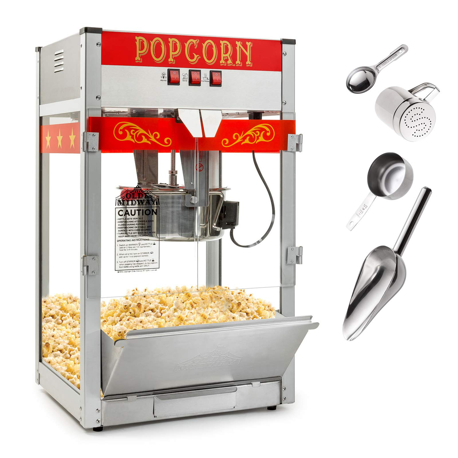 Olde Midway Commercial Popcorn Machine Maker Popper with Large 12-Ounce Kettle - Red by Olde Midway