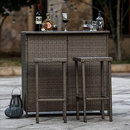 Astounding Amazon Com Patio Dining Set Small Outdoor Bar Furniture Uwap Interior Chair Design Uwaporg