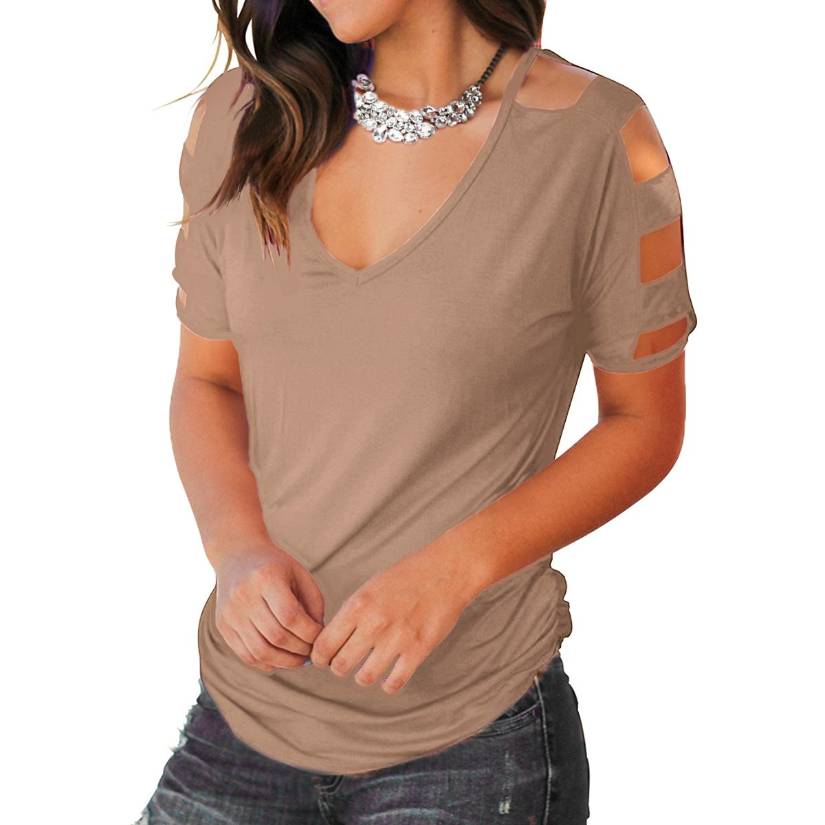 Eanklosco Women\'s Long Sleeve V Neck Cold Shoulder Cut Out T Shirts Casual Tunic Tops (L/UK 12, Light Coffee-Short)