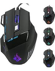 QueenDer Gaming Maus,USB Kabel Mäuse Wired Hohe Präzision Optische Professionelle Gamer Mouse mit 7 Tasten/4 Einstellbarer DPI(1000-3200)/LED/Ergonomisches Design für PC Laptop MacBook - Plug & Play