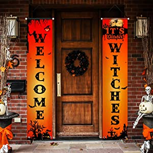 FSFLAG Halloween Decorations Outdoor - 2 PCS Halloween Yard Decorations - Vivid Color and UV Fade Resistant - Halloween Flag Decor Sign for Door Wall Outdoors Party Home (Welcome Halloween Orange)
