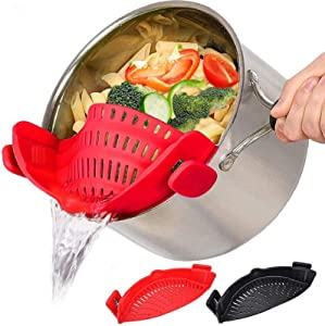 Food Strainers Fine Mesh Strainer 2 PACK, Clip On Colander Rice Strain Sieve Sifter, Hands-Free Heat Resistant Silicone Drainer Filter for Kitchen All Pots Bowls, Vegetable Spaghetti Pasta Ground Beef