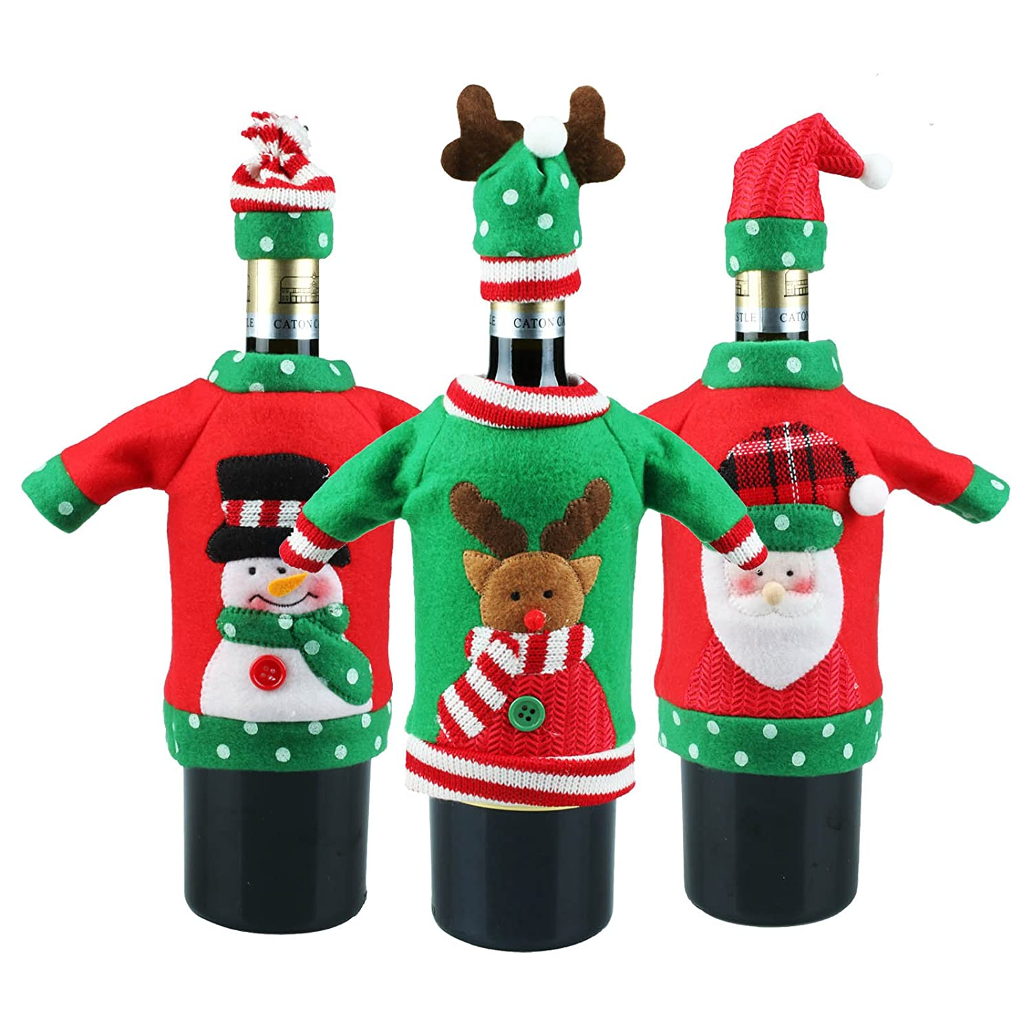vLoveLife 3pcs Christmas Sweater Wine Bottle Cover, Handmade Ugly Wine Bottle Sweater Santa Red Wine Bottle Dress Sets for Christmas Gifts Xmas Party Kit Decorations