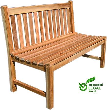 Mojawo - Banco de madera de teca para jardín (180 x 90 x 60 cm): Amazon.es: Hogar
