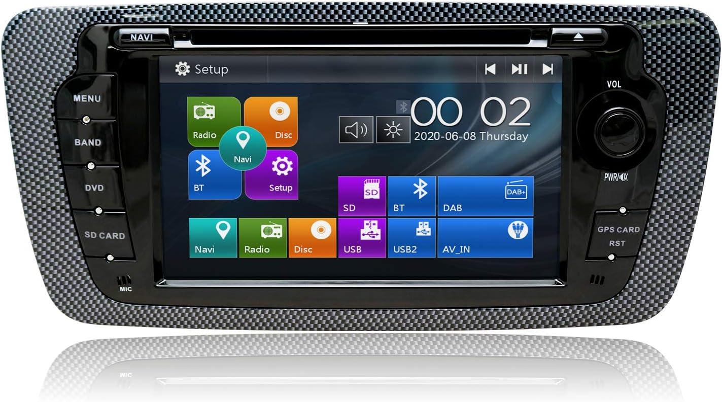 SWTNVIN Radio estéreo para Coche Compatible con Seat 2009 – 2013 7 Pulgadas en el Tablero GPS Navigator Unidad de Cabezal Doble DIN Soporte USB SD FM ...