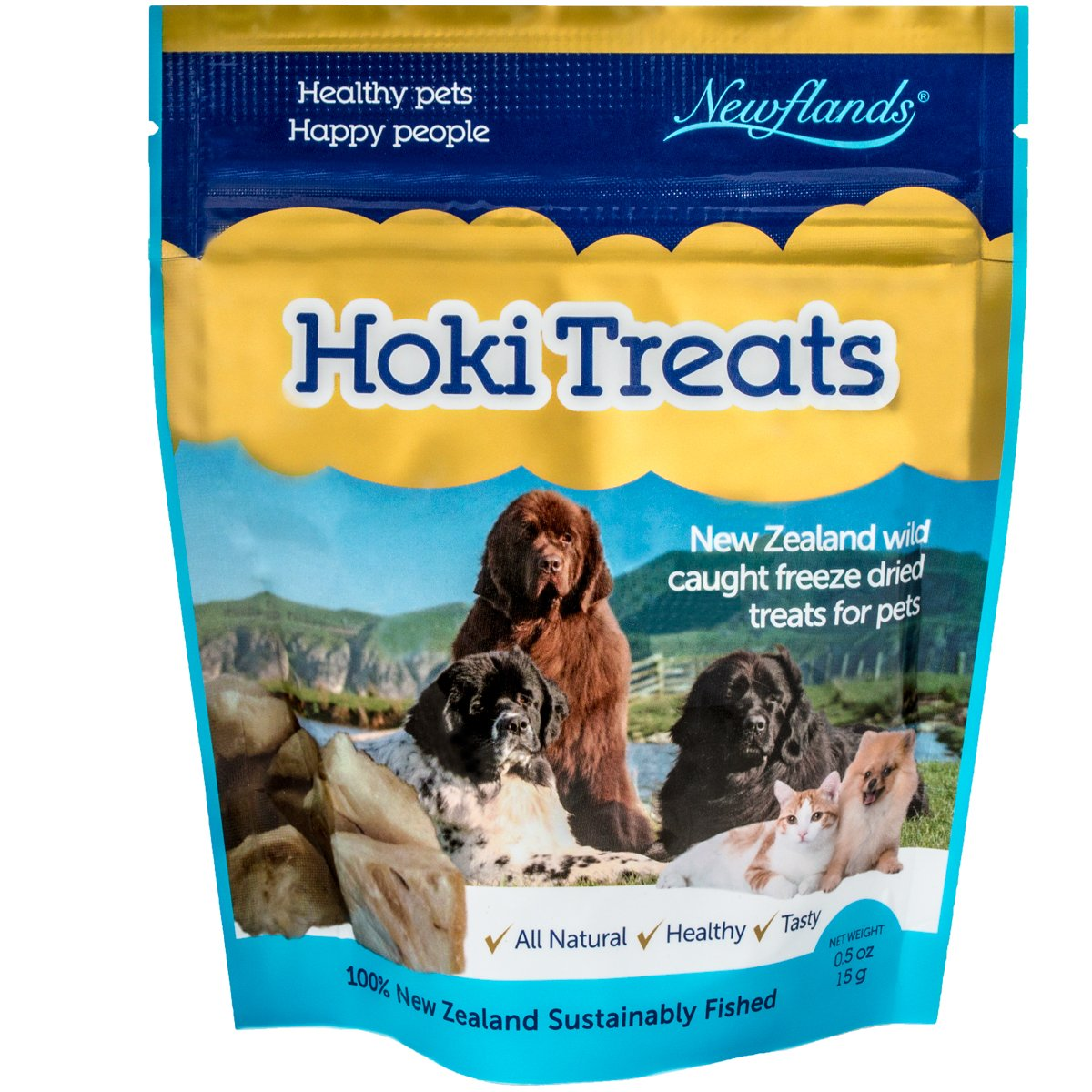 Newflands Hoki Premium Pet Treats, 100% Natural Food Supplement For Dogs and Cats, 0.53oz (15gm)