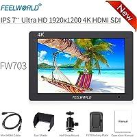 "Feelworld FW703 Kamera Monitor 7"" 4K HDMI SDI Ultra HD 1920x1200 Field Video LCD IPS Bildschirm 1200:1 Hohes Kontrast für Steady Cam, DSLR Rig, Camcorder Kit, Handheld Stabilisator"