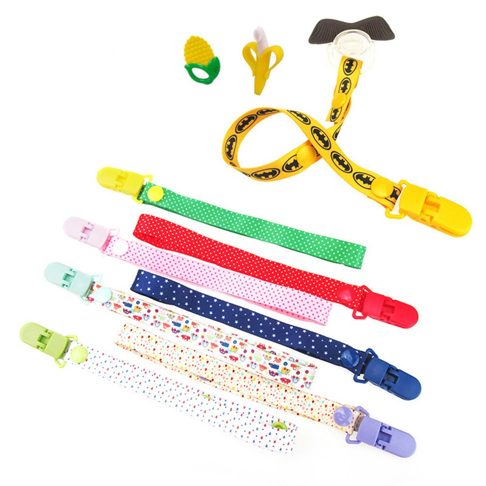 Baby Dummy Clips Pacifier Holder Strap, Baby Toys Clip, 8 Pack Baby Toy Pacifier Dummy Clip New Sippy Pal Baby Bottle Strap Clip Hanger for Stroller Pram (8 Colors) Yueunishi