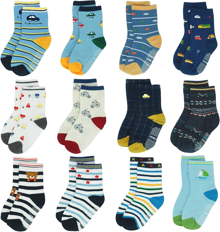 12 Pairs Kids Non Slip Skid Socks Grips Sticky Slippery Cotton Crew Socks For 1-3/3-5/5-7 Years Old Children Youth Boy Girl…