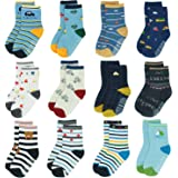 12 Pairs Kids Non Slip Skid Socks Grips Sticky Slippery Cotton Crew Socks For 1-3/3-5/5-7 Years Old Children Youth Boy…
