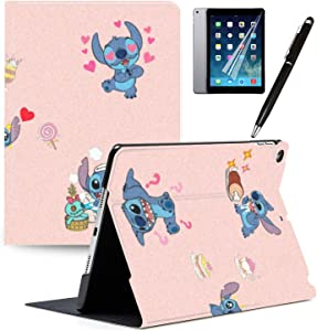 "iPad 7th Generation 10.2"" 2019 Case Cartoon Lilo & Stitch Cartoon Protection Lightweight PU Leather Smart Auto Sleep/Wake Cover Compatible for Apple iPad 10.2 inch 2019#L"
