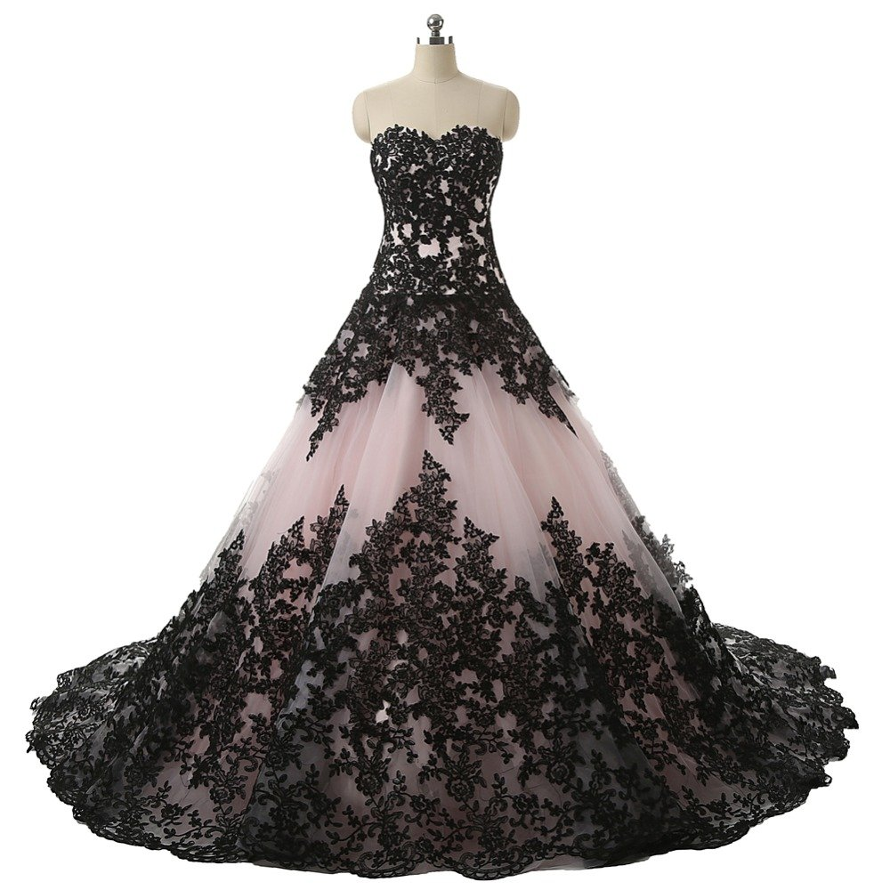Pink and Black Applique Lace Quinceanera Ball Prom Dresses for Wedding 2018 by DINGZAN
