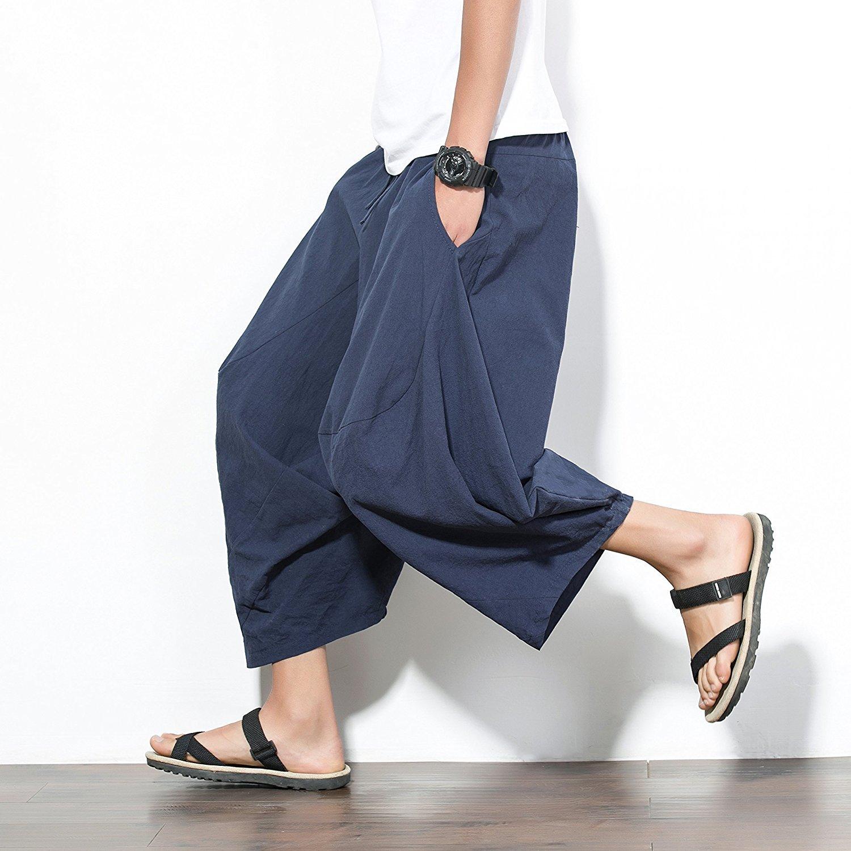 e-youth Mens Elastic Waist Wide Leg Cotton Harem Baggy Pants Patchwork Linen Capri Trousers