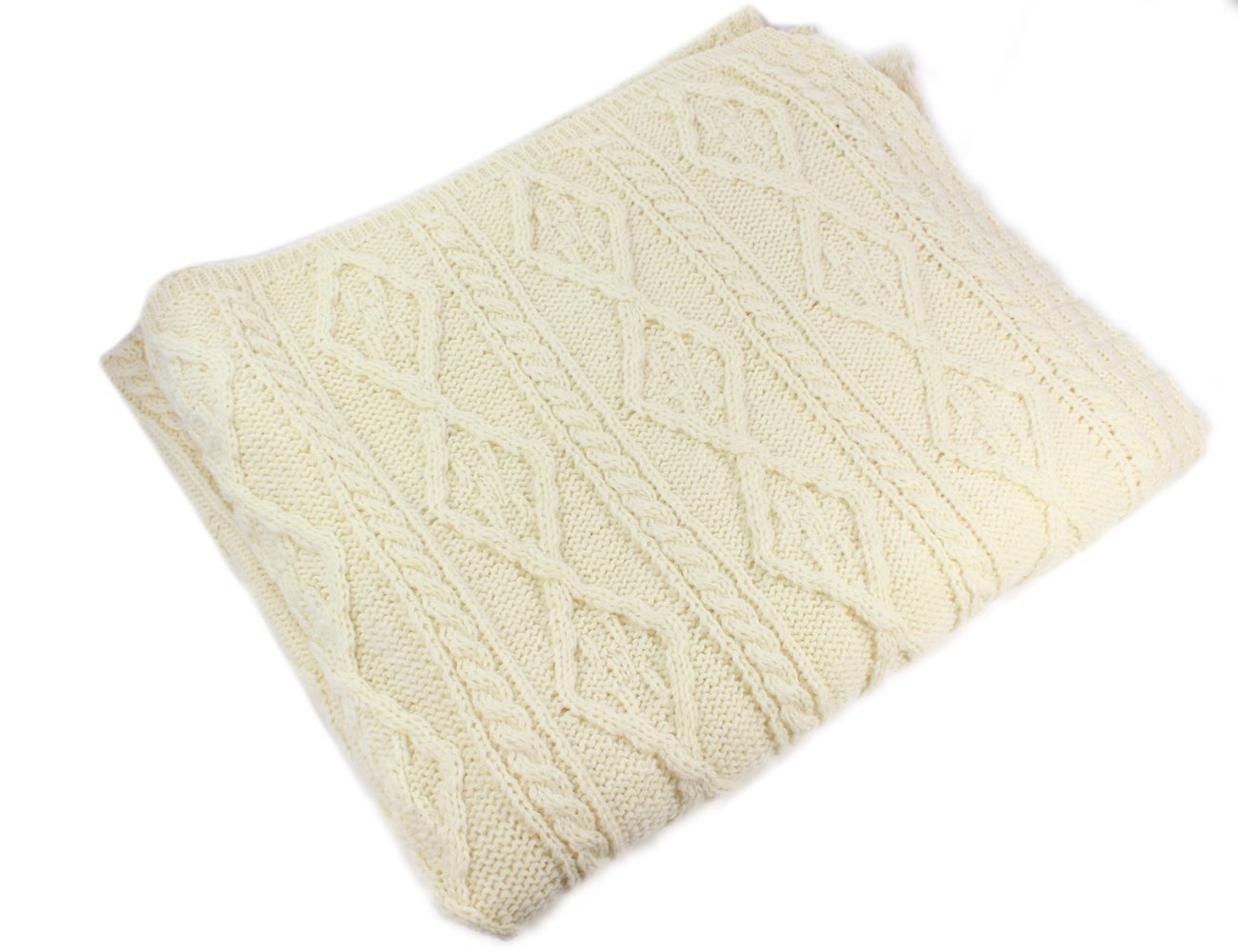 100% Irish Merino Wool Cream Wool Blanket by Carraig Donn