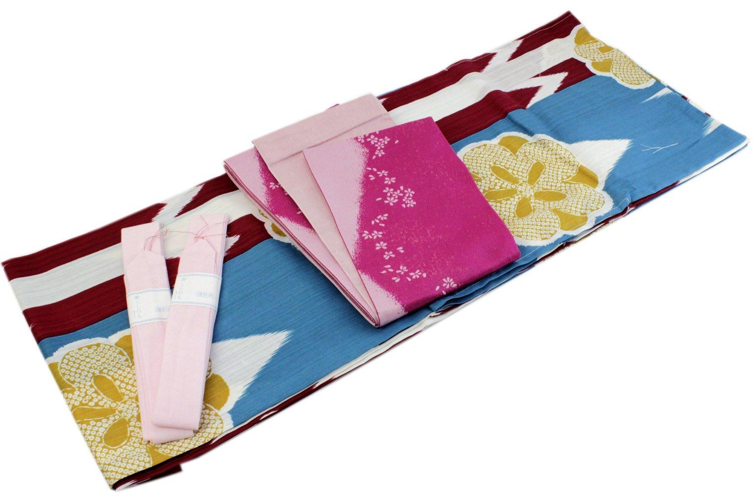 Womens Cotton Yukata 4item set Japanese Summer Kimono Blue Yagasuri Obi Pink