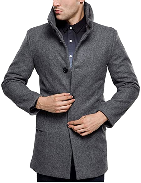 SSLR Men's British Single Breasted Slim Wool Coat at Amazon Men's ...