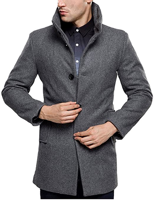 Sslr Men's British Single Breasted Slim Wool Coat by Sslr