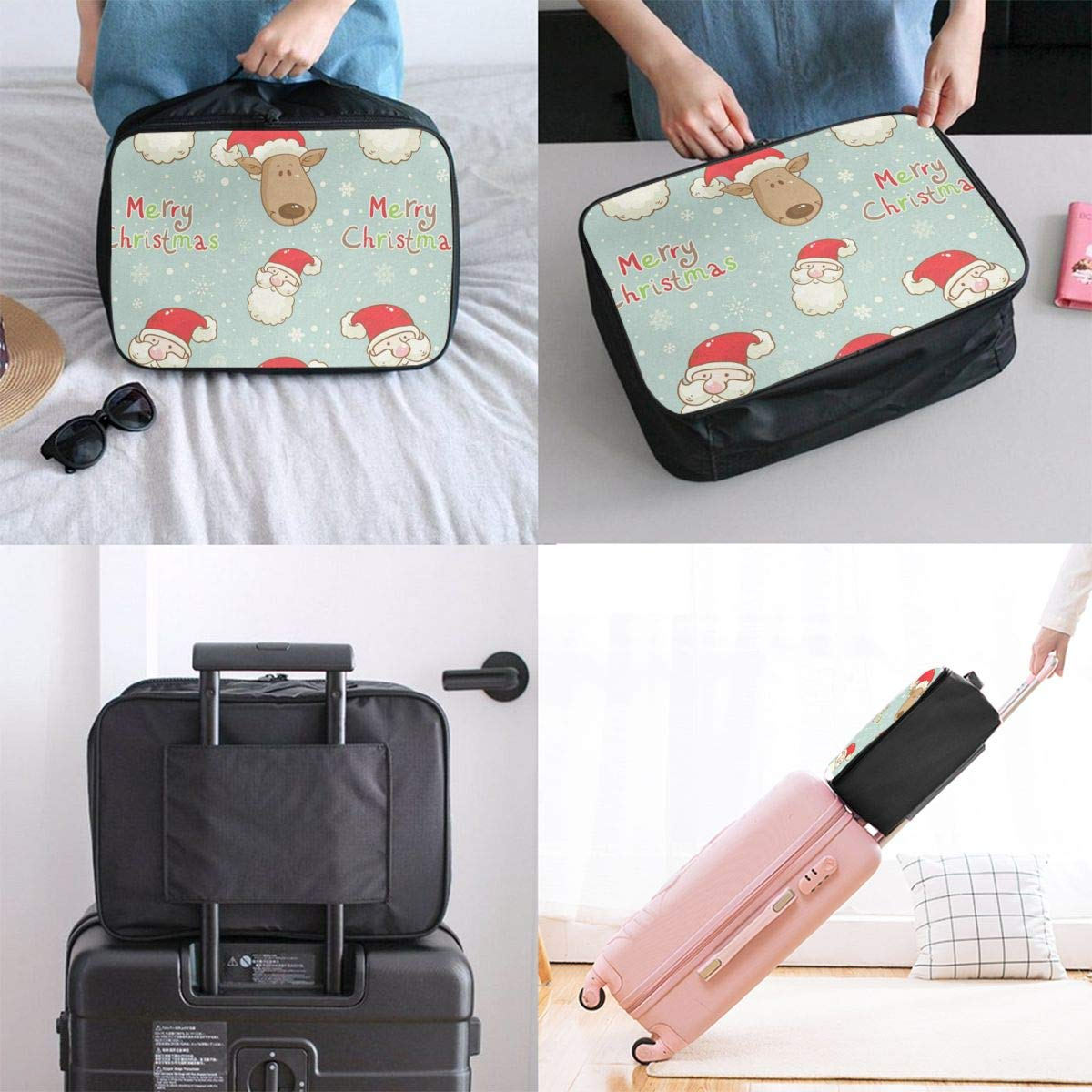 Travel Bags Santa Clau And Deer Portable Duffel Trolley Handle Luggage Bag