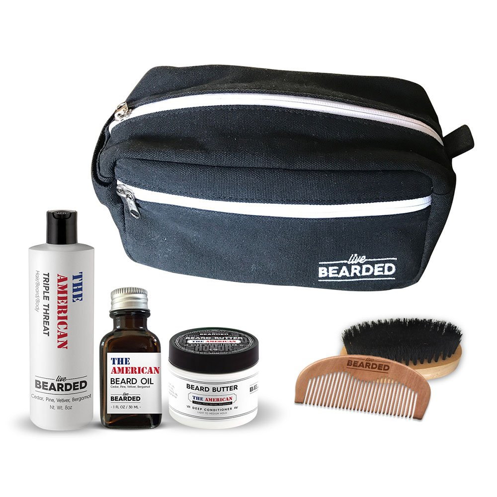Live Bearded - Holiday Bundle (Beard Oil, Beard Butter, Beard Wash, Wooden Comb and Beard Brush) (The American)