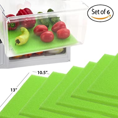 Dualplex Fruit & Veggie Life Extender Liner for Fridge Refrigerator Drawers (6 Pack) – Extends the Life of Your Produce & Prevents Spoilage, 13 X 10.5 Inches