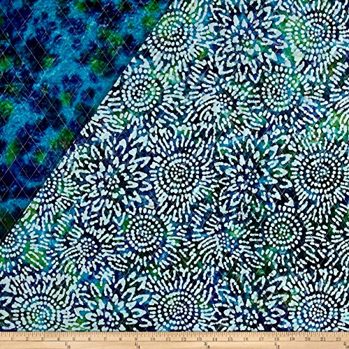 Textile Creations Double Face Quilted Indian Batik Sunflower Blue/Purple/Teal Fabric By The Yard (Quilted Fabric)