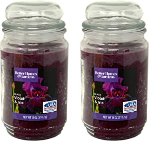 Better Homes Gardens 18oz Scented Candle, Black Violet and Iris 2-Pack