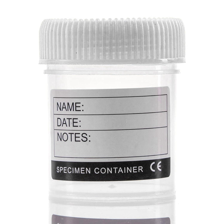 Large Labelled Specimen Container 60ml Lidded Liquid Sample Pot White Hinge