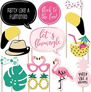 product image for Big Dot of Happiness Pink Flamingo - Party Like a Pineapple - Tropical Summer Party Photo Booth Props Kit - 20 Count