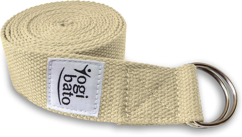 Cultivo Biol/ógico Yoga Strap Belt - Correa Yoga Algodon para Mejores Estiramientos 100/% Algodon 250 x 3,8 cm Cintur/ón de Yoga con Cierre de Metal Lotuscrafts Yoga Cinturon Algodon