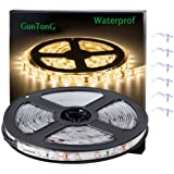 GuoTonG Warm LED Strip Lights, Waterproof cuttable 300 SMD 2835 LED Tape, 3000K 12V 16.4ft/5m Flexible Ribbon, Kitchen Cabinet Lighting, Outdoor/Indoor