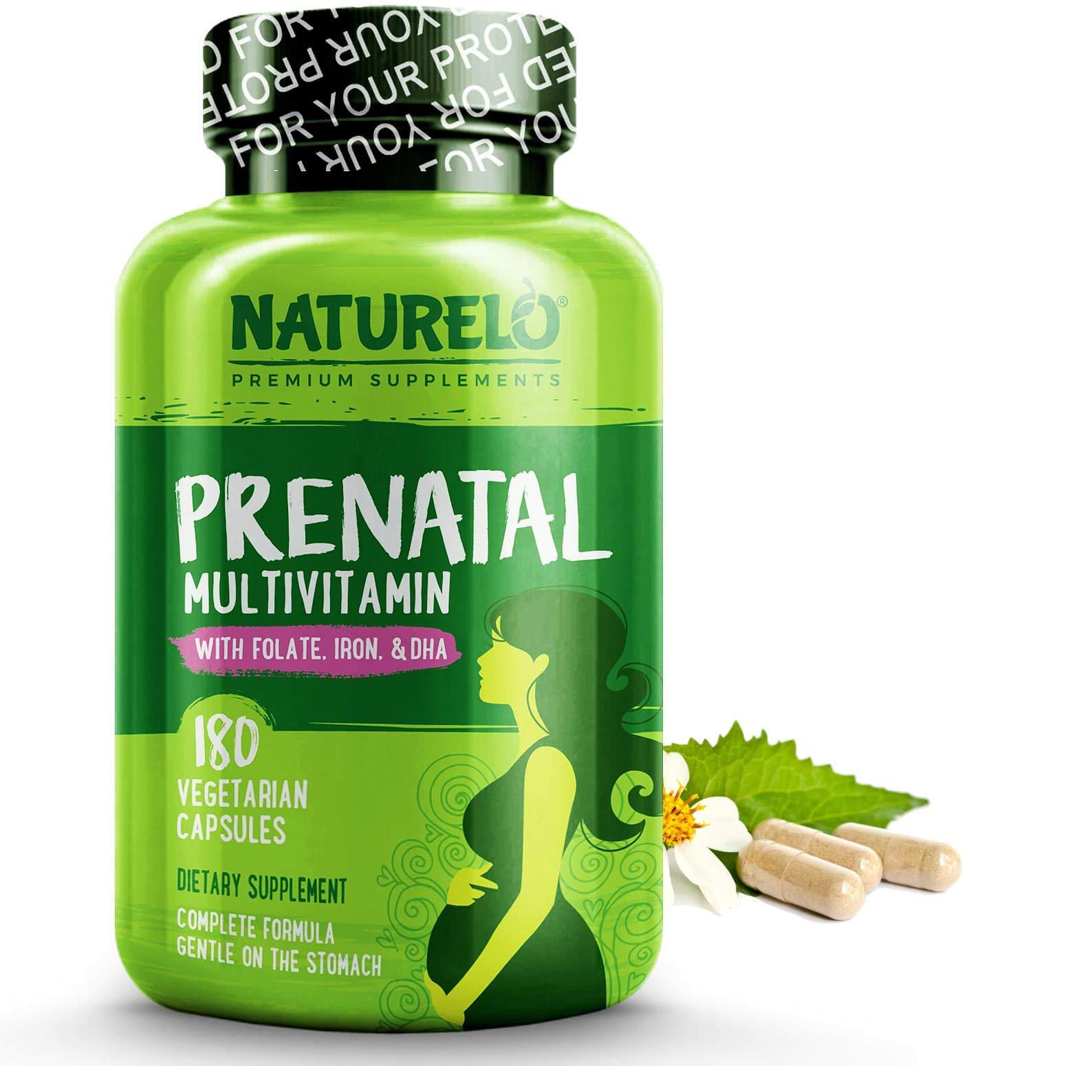 NATURELO Prenatal Whole Food Multivitamin - with Natural Iron, Folate and Calcium - Vegan & Vegetarian - Non-GMO - Gluten Free - 180 Capsules | 2 Month Supply