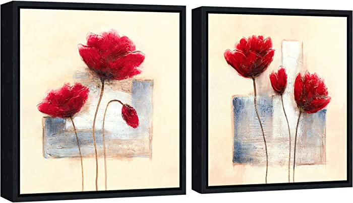 Wieco Art Framed Art Charming Spring Canvas Prints Abstract Floral Oil Paintings Style Pictures on Canvas Wall Art Framed Canvas Wall Decor for Living Room Bedroom Kitchen Home Decor FRC2-3030-BF