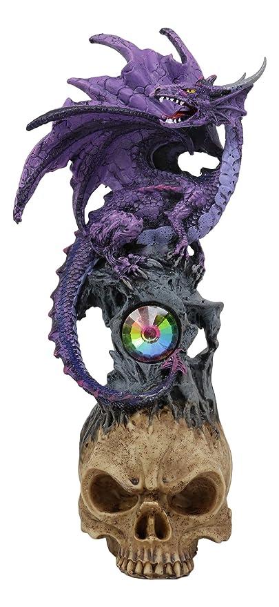 Ebros Purple Spyro Midnight Dragon Perching On Half Cranium Alien Skull With Gemstone Oracle Figurine Myth Legends Dungeons Dragons Collectible