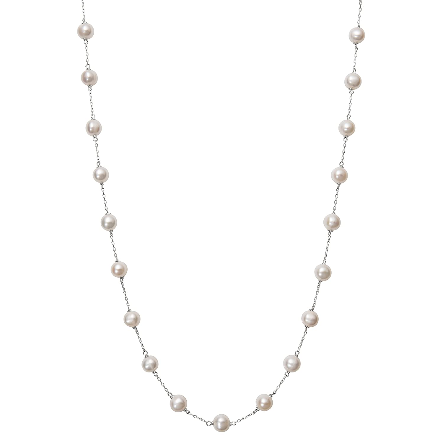 10K Gold 6.0-6.5mm White Cultured Freshwater Pearl Station Tin Cup Chain Necklace,18