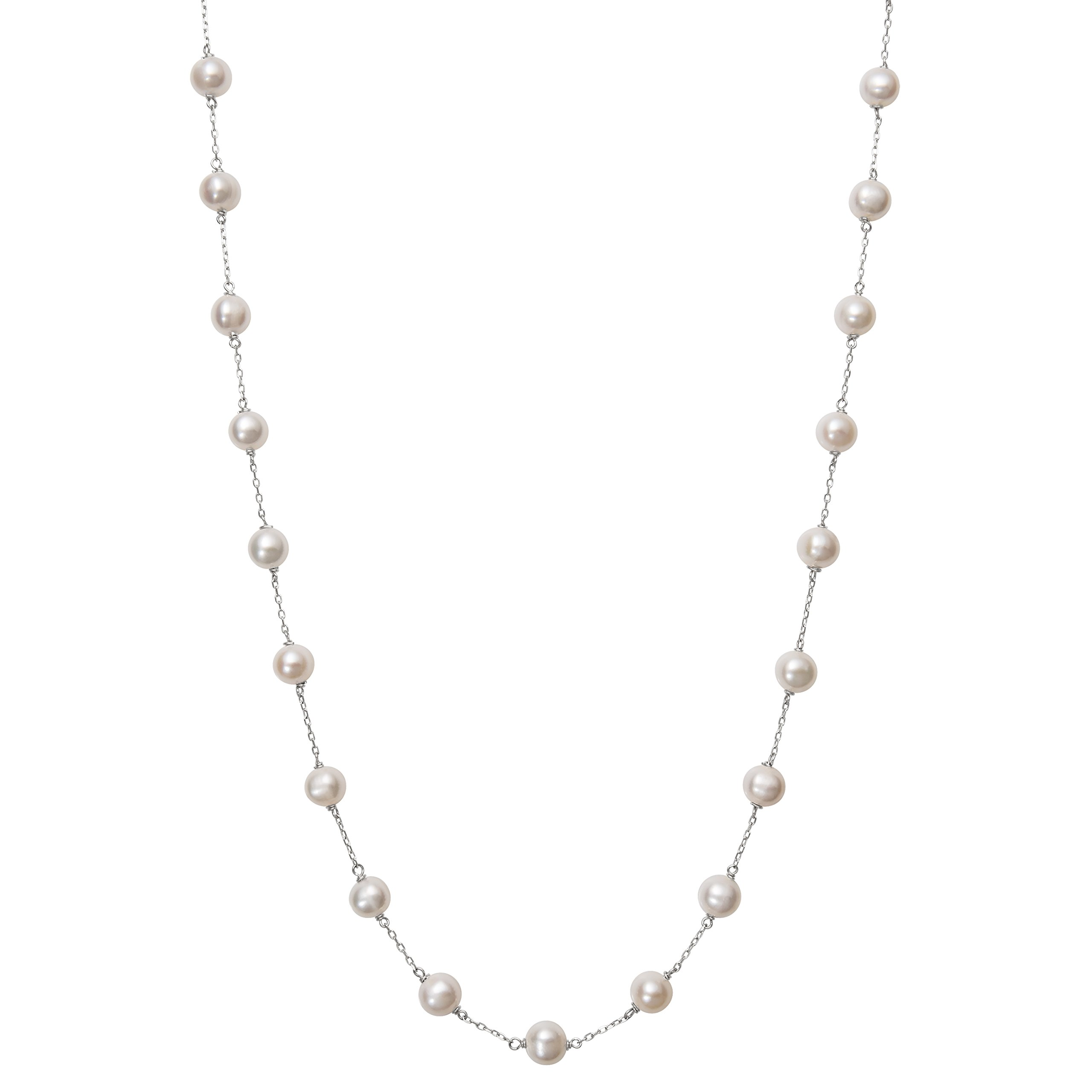 10k White Gold Freshwater Cultured Pearl Station Necklace,18''